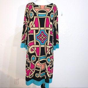 Nicole Miller Mod Style Midi Dress Bold Bright